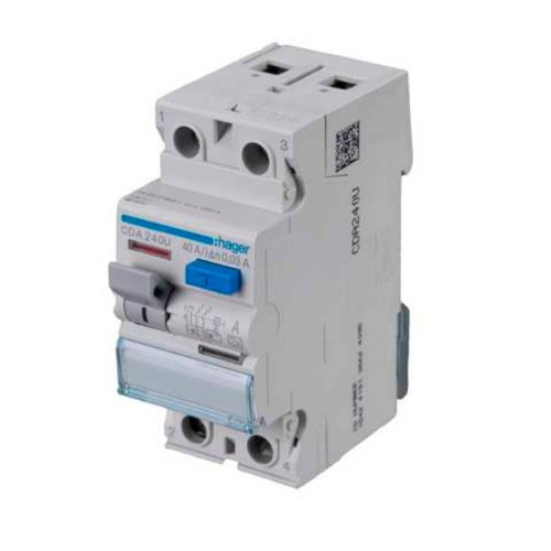 Hager CDA240U Double Pole 40A 30mA RCCB 2P A Class, Hager Residual Current Circuit Breaker