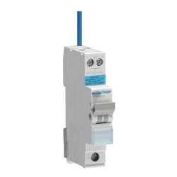 Hager RCBO 25A 30mA 1 Pole 6kA B Curve Reduced height, Type A (AC and Pulsating DC Sensitive)