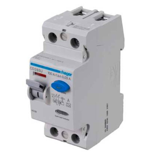 Hager CD285U 100A 2 Pole 30mA Type A RCD, DIN Rail Mounted Hager RCD 2P