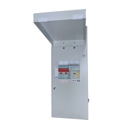 Hager IU44-16D 4 Module Metal Unit 1x100A + 63A Switched Fuse with Door in White Amendment 3