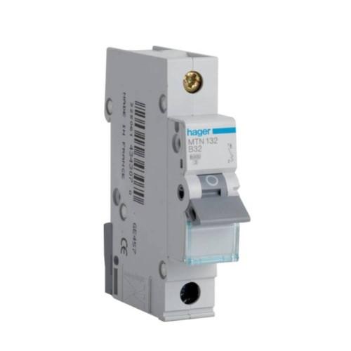 Hager MTN132 32A 1 Pole Type B 6kA Miniature Circuit Breaker, Single Pole MCB