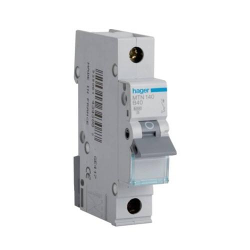 Hager MTN140 40A 1 Pole Type B 6kA Miniature Circuit Breaker, Single Pole MCB