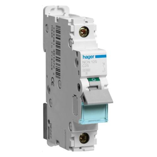 Hager NCN125 25A Type C Single Pole MCB 10kA Mini Circuit Breaker 1P C-25A 1M