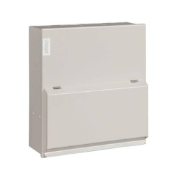 Hager 8 Way Metal Enclosure (empty) with DIN Rail, Surface Mounting IP2XC max. 100A Pure White, Hager Design 10 VML008