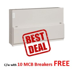 Hager 12 Way Metal Consumer Unit Amendment 3 with 10 MCB Breakers FREE, Split Load 6+6 100A Switch 2*100A 30mA RCCB