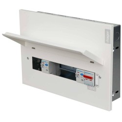 Hager 10 Way Flush Consumer Unit Dual RCD 100A DP Isolator + 2 x 100A 30mA Type A RCDs Metal Clad VMLF910C