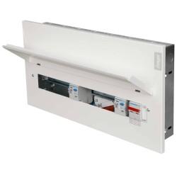 Hager 16 Way HI Flush Consumer Unit Split Load 100A DP Isolator + 2 x 100A 30mA Type A RCDs Metal Clad VMLF916C