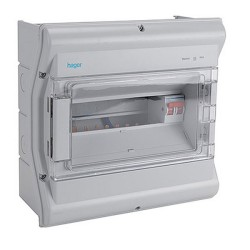 Hager VW110G IP55 10 Way Insulated Consumer Unit with 100A Switch Incomer and Glazed Door