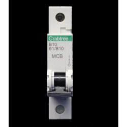 Crabtree Starbreaker 10A Type B Miniature Circuit Breaker, 1 Module / Single Pole MCB