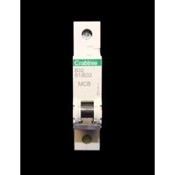 Crabtree Starbreaker 20A Type B Miniature Circuit Breaker, 1 Module / Single Pole MCB