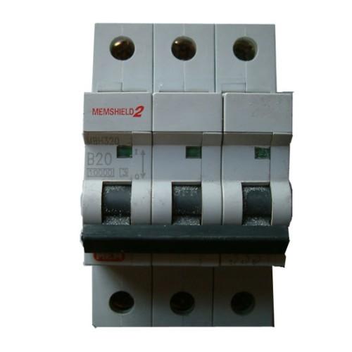 MEM Memshield2 MBH320 20A Triple Pole MCB Type B 10kA Miniature Circuit Breaker