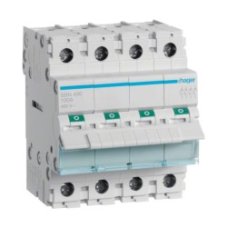 Hager SBN490 4-pole 100A Modular Switch Disconnector 400V Neutral Left (4 modules)