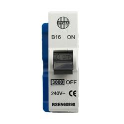 Wylex B16 MCB 16A Type B Single Pole 240V AC 3kA Plug-in Miniature Circuit Breaker