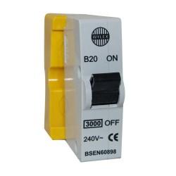 Wylex B20 MCB 20A Type B Single Pole 240V AC 3kA Plug-in Miniature Circuit Breaker