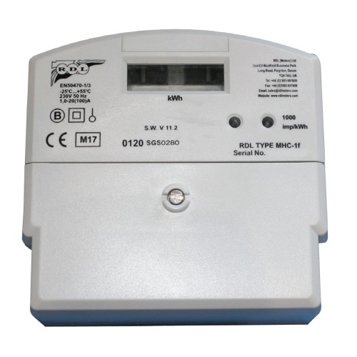 Single Phase Digital Credit Meter max. 100A with LCD Readout, MID Approved Electronic Meter 230V, 1-20(100)A, Single Rate