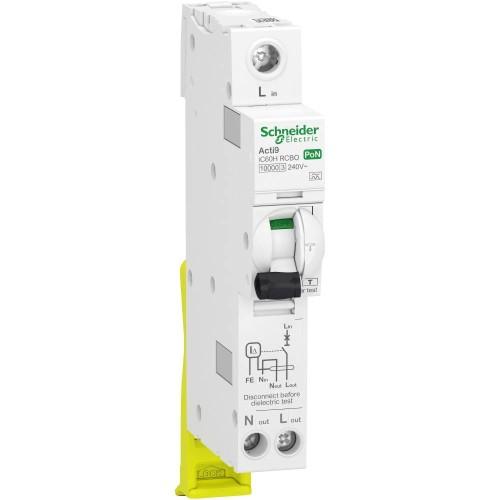 Schneider 40A Acti9 1P+Ns 1 Module C Curve RCBO 10kA 30mA Type A, A9D05840 iC60H RCBO plug on neutral