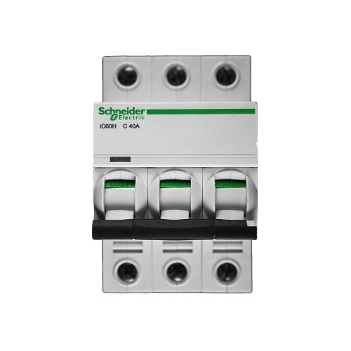 Schneider Acti 9 iC60H 3P 40A Curve C Miniature Circuit breaker 10 kA Type C MCB 3 Module