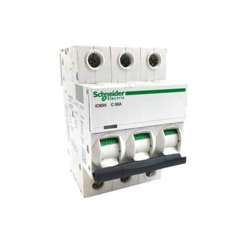 Schneider Acti 9 iC60H 3P 50A Curve C Miniature Circuit breaker 10 kA Type C MCB 3 Module