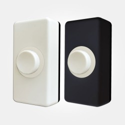 Wired Surface-mounted White Bell Push with White and Black Covers, Concealed Fixing Holes, IP20 28x18x55mm