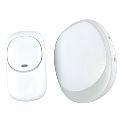 White Wireless Plug-in Doorbell with LED Light Alert Chime, IP44 Stylish Door Bell Set up to 150m range