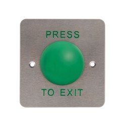 Push-to-Exit Mushroom Release Button, Large Green Button on a Stainless Steel Fascia