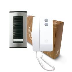 BPT 1 Way Audio Door Entry Kit: Targha 1 Button Panel + 1 White Agata Handset Kit
