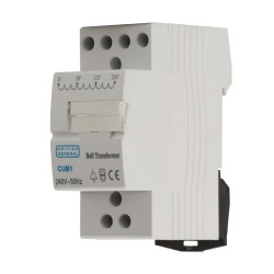 DIN-Rail mounted Bell Transformer Module in White, 240V AC in, 8/12/24V DC Out