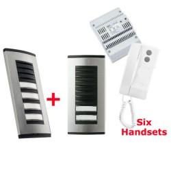 BPT 6 Way Audio Door Entry Kit: 2 Targha Button Panels, 6 White Agata C200 Handsets, Audio Module, and Power Supply