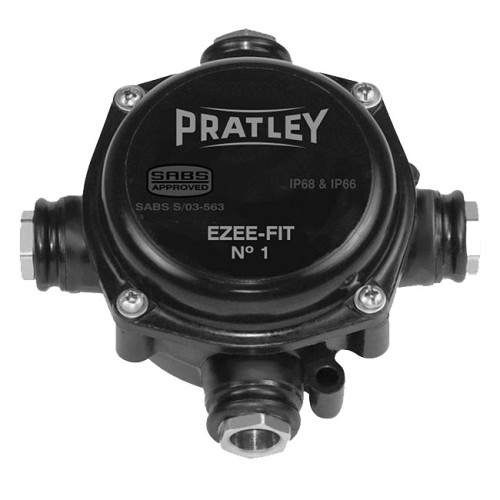 Pratley Ezee Fit 4 Way 20mm Entry Box IP68 Size 0 Black Cable Junction Box Non-Corrosive