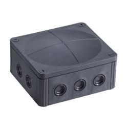 IP66/67 Black Junction Box, Wiska COMBI 1210/5/S 160 x 140 x 81mm Enclosure 10mm