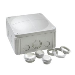 Wiska Combi 1010 Grey IP66 Waterproof Solid Junction Box 140 x 140 x 82mm with 5 Pole 57A Connector