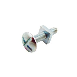 M5 50mm Roofing Bolt Cross Slotted Mushroom Head Zinc Plated c/w with Square Nut