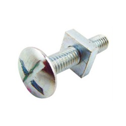M6 x 16mm Roofing Bolt with Square Nut Zinc Plated BZP, Roofing Nuts and Bolts