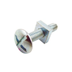 M6 x 20mm Roofing Bolt with Square Nut Zinc Plated BZP, Roofing Nuts and Bolts