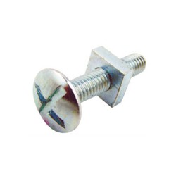 M6 x 25mm Roofing Bolt with Square Nut Zinc Plated BZP, Roofing Nuts and Bolts
