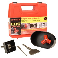 Armeg EBS.TC.Set EBS Tri-Cut Single Box Sinking Set for Drilling a Square Hole for Single Back Box