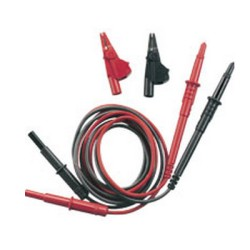 Multimeter Lead Set, 2 Standard Unfused 4mm Shuttered Connectors (with Croc Clips)