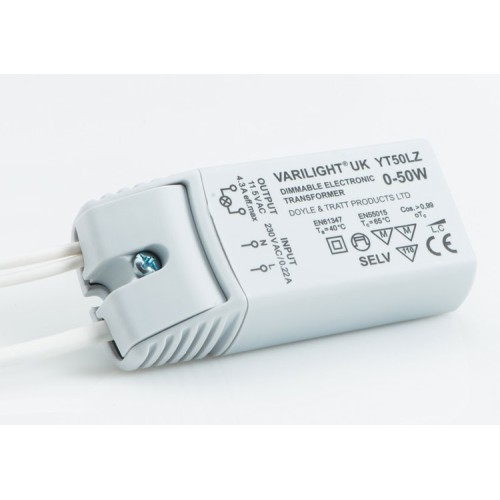 0-50W Low Voltage Lighting Transformer with trailing leads for 12V AC LEDs up to 25W Varilight YT50LZ