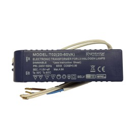 12V 20W-60W AC Transformer (dimmable) for Low Voltage Halogen Lamps with Auto Reset and Fly Leads