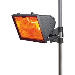 IP24 1300W Black Outdoor Infrared Heater with Mesh Grill for Wall or Pole Mounting, Patio Heater
