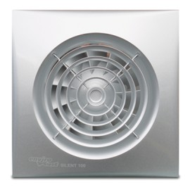 Silent 100mm Silver Bathroom Fan with Adjustable Timer, EnviroVent Silent 100 Extractor Fan