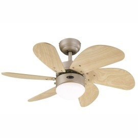 Westinghouse Ceiling Fan 76cm / 30inch Titanium Ceiling Fan Turbo Swirl with 6 Maple Blades and Opal Glass Light