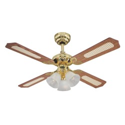 """Westinghouse Ceiling Fan Princess Trio 105cm / 42"""" in Polished Brass with 4 Reversible Oak/Mahogany Blades and 3 Lights"""