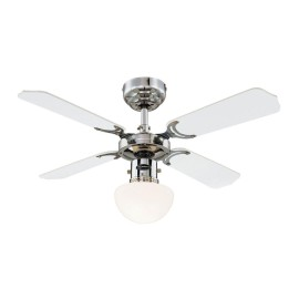 Westinghouse Ceiling Fan Portland Ambiance 90cm / 36 inch in Chrome and Glass Light with 4 Reversible White / Black Blades
