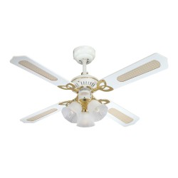"""Westinghouse Ceiling Fan 105cm/42"""" Princess Trio in Polished Brass with Reversible 4 Blades White/White with Rattan and 3 Lights"""