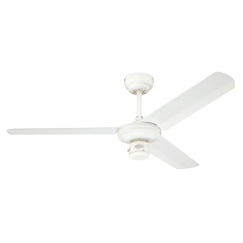 Westinghouse Industrial Ceiling Fan in White 122cm / 48 inch with 3 White Steel Blades and Pull Chain Switch