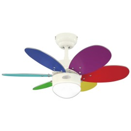 Westinghouse Ceiling Fan 76cm / 30 inch White Ceiling Fan Turbo Swirl II with 2 Sets of 6 Blades and Opal Disc Light