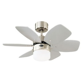 """Westinghouse Ceiling Fan 76cm/30"""" Flora Royale Satin Chrome Ceiling Fan and Light with 6 Blades in Silver / White"""