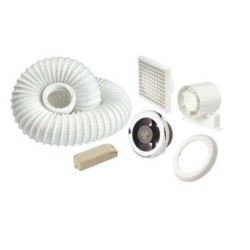 Showerlite 100mm In-Line Axial Shower Fan Kit with Timer and 3W LED Light with 12V Driver