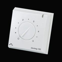 DEVIreg 130 White Thermostat with Floor Sensor, Electric Underfloor Heating Dial Thermostat